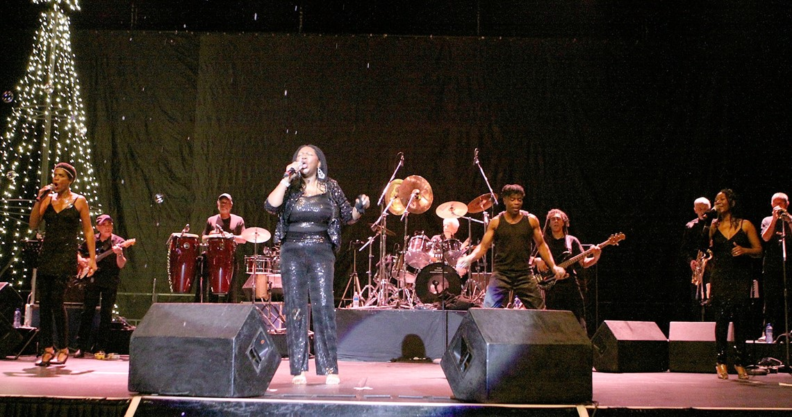 Photograph of Boney M on stage